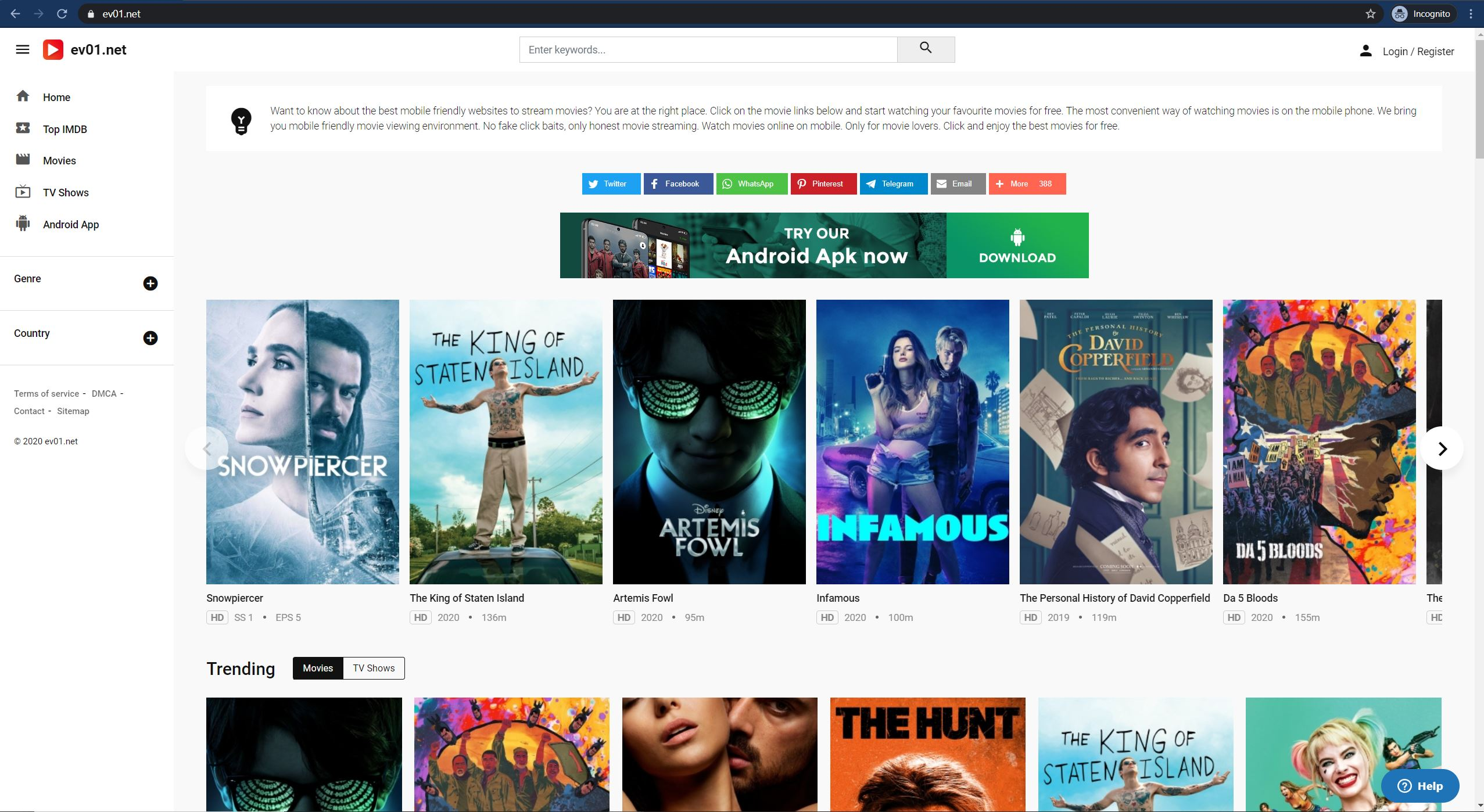 Free Streaming Website for Movies & TV Shows